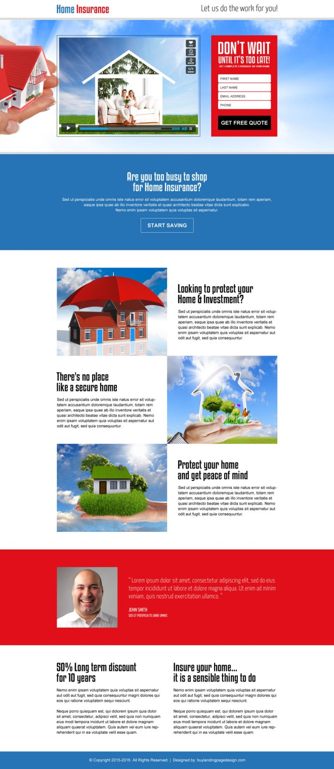 home insurance lead generating video landing page