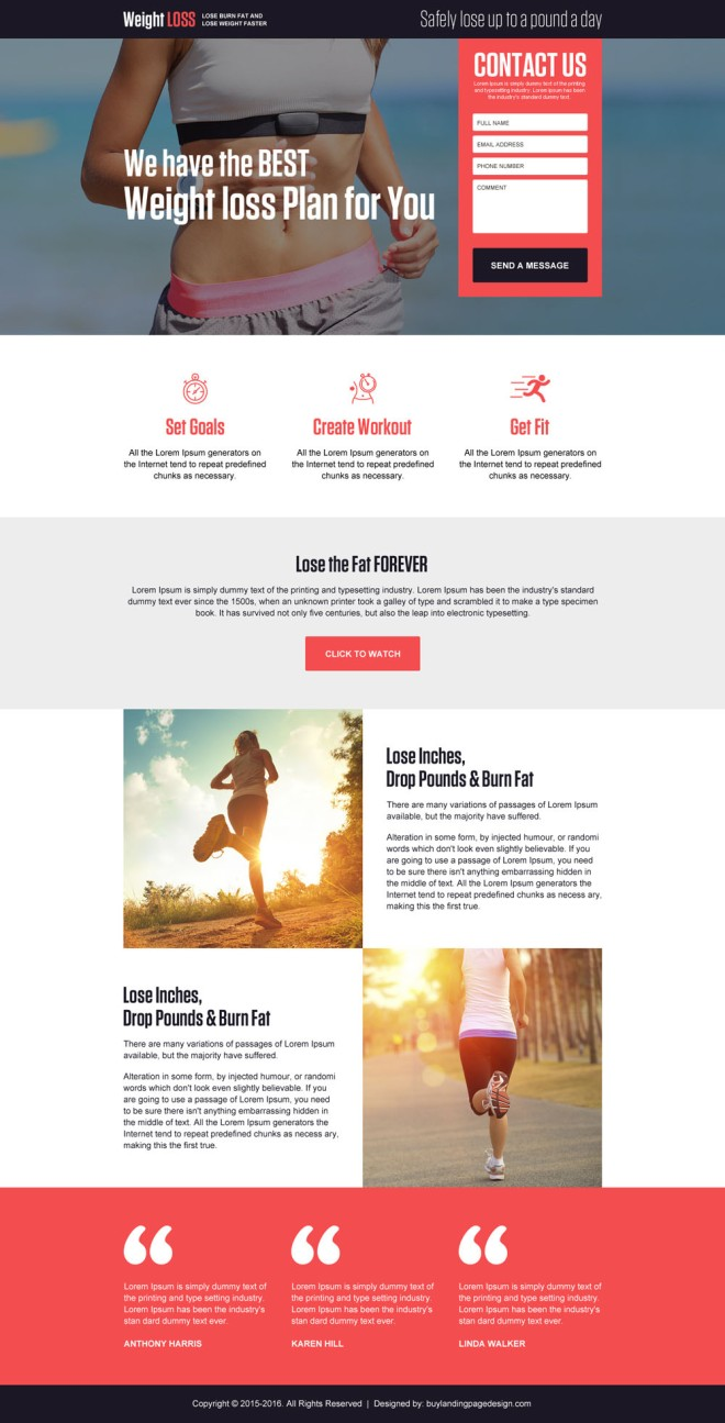 clean and appealing weight loss plan lead magnet responsive landing page