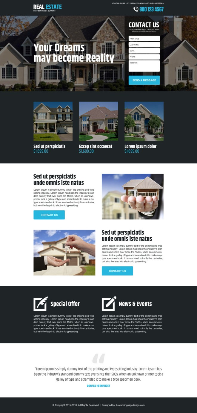 best real estate service lead gen responsive landing page design