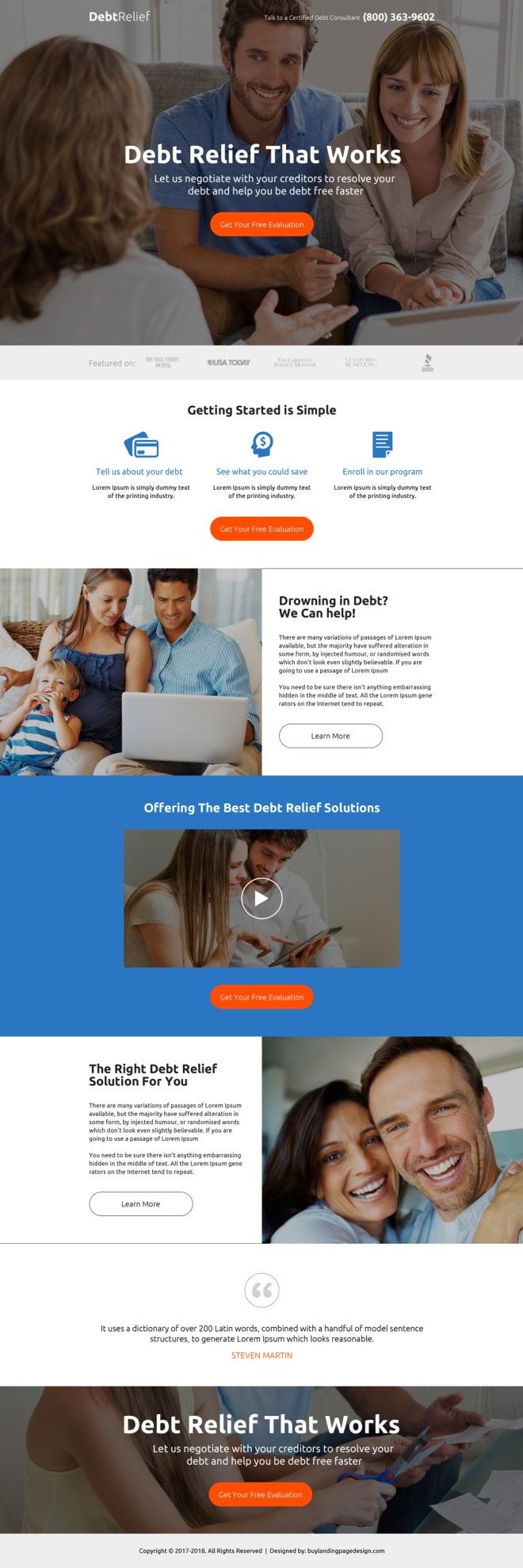 debt relief evaluation premium landing page design