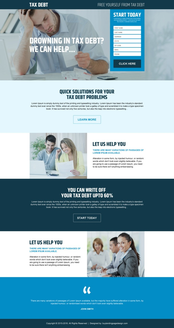 free yourself from tax debt responsive landing page design