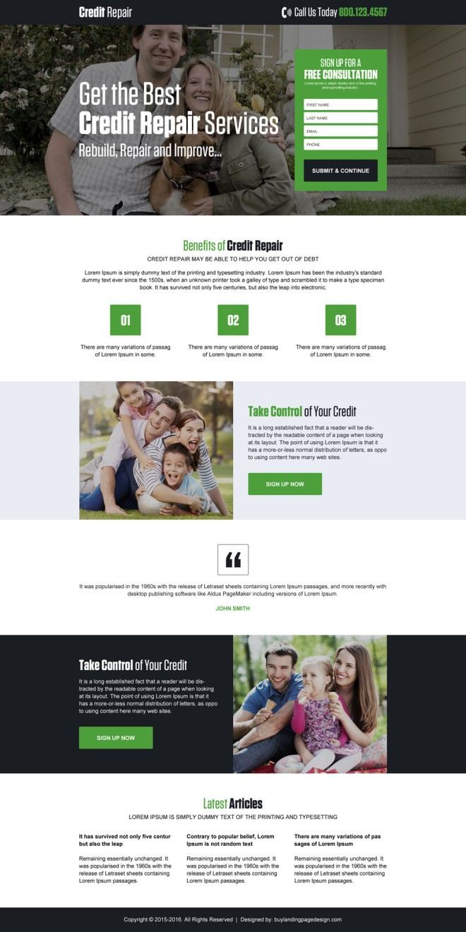 best credit repair service landing page design