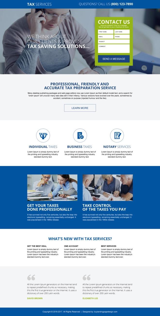 responsive tax saving service landing page design template