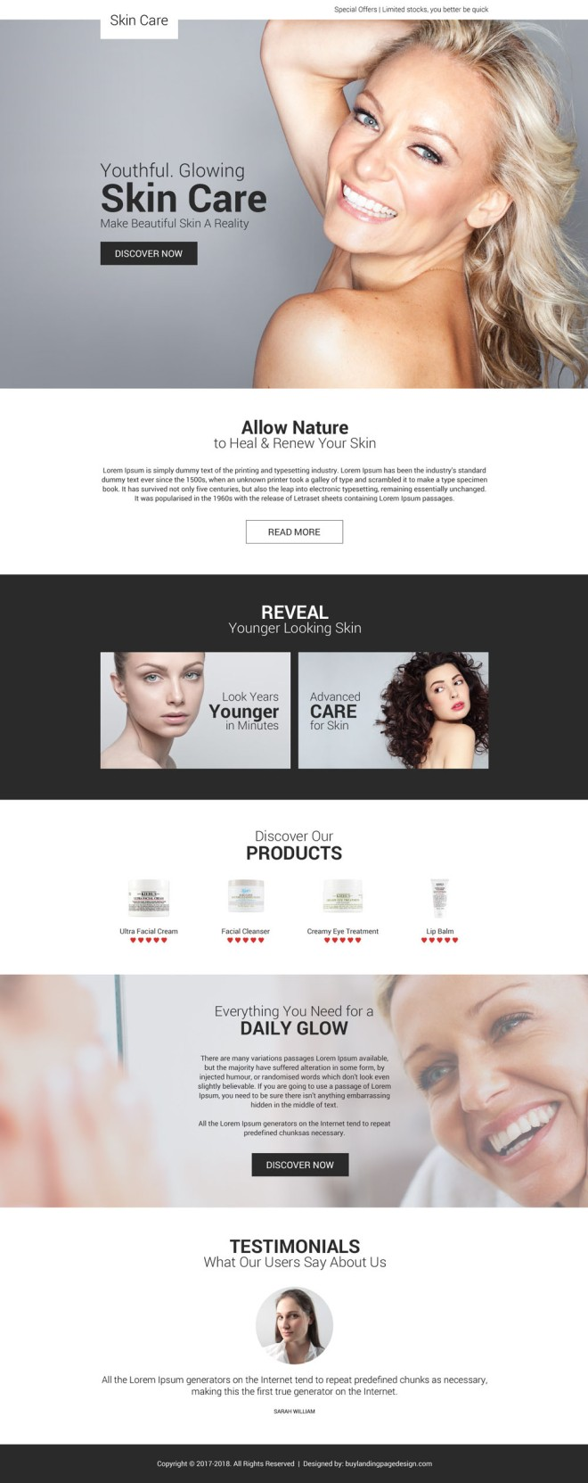 youthful and glowing skin care appealing landing page