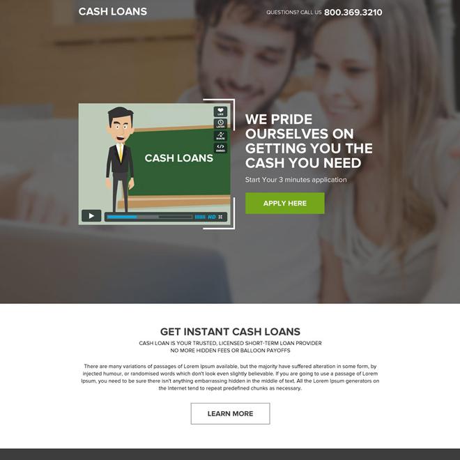 best cash loan video responsive landing page design Loan example