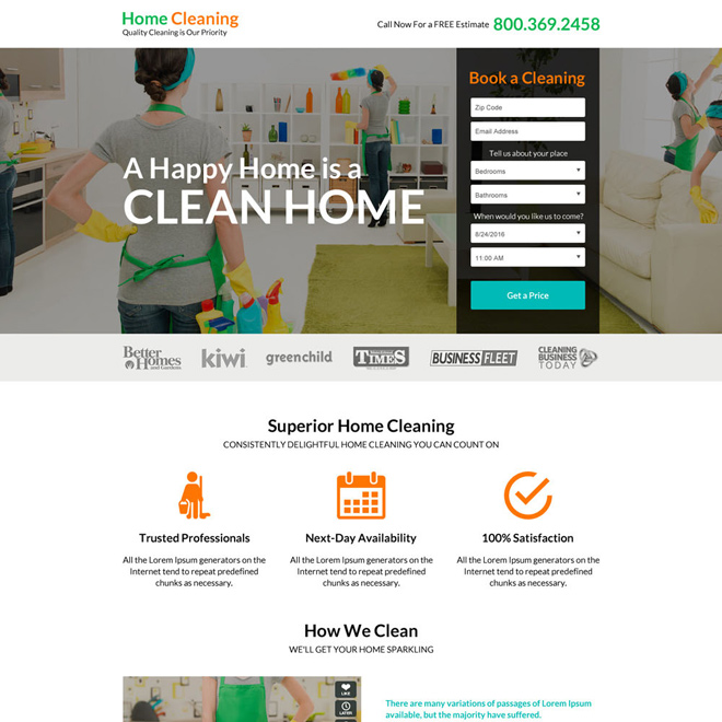 superior home cleaning service responsive landing page design Cleaning Services example