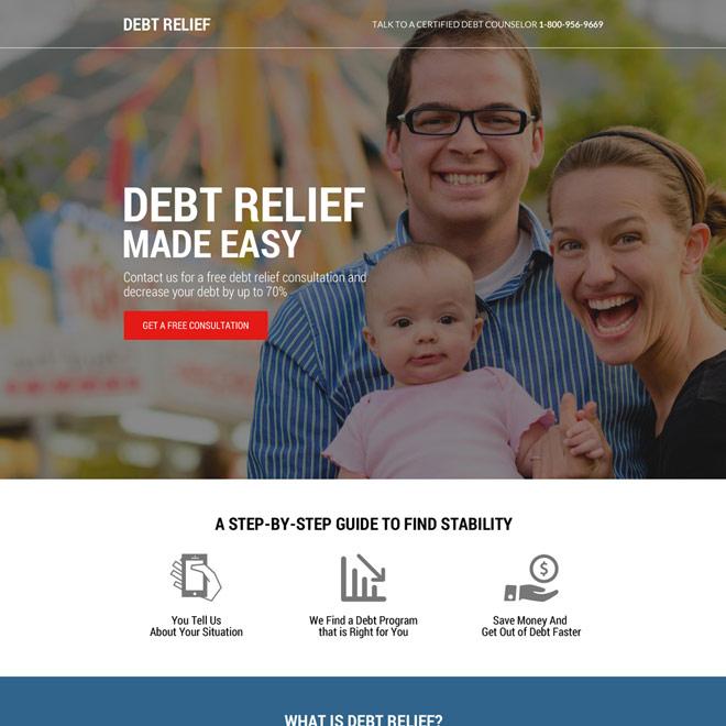 free debt relief consultation responsive landing page design Debt example
