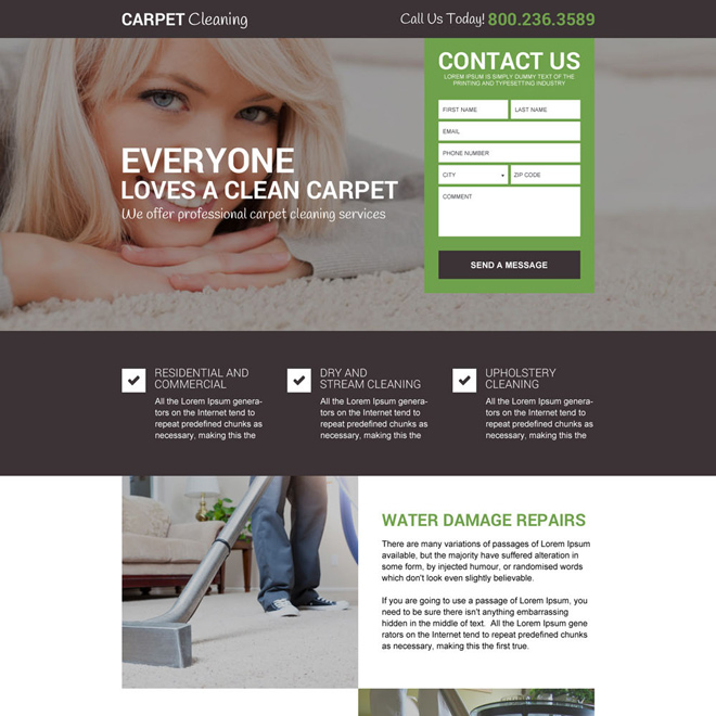 responsive carpet cleaning service landing page design Cleaning Services example