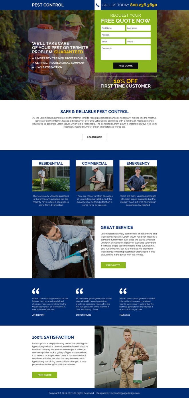 commercial pest control service responsive landing page design