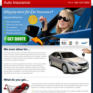 free auto insurance landing page design