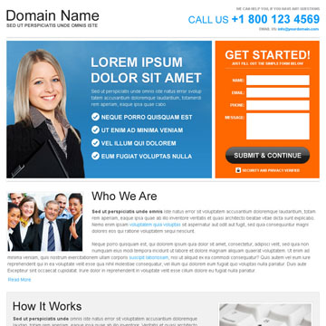 free business opportunity landing page design