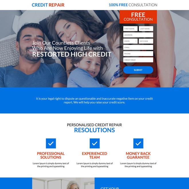 responsive high credit repair consultation landing page design Credit Repair example