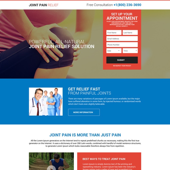 responsive joint pain relief free consultation lead capturing landing page design Pain Relief example
