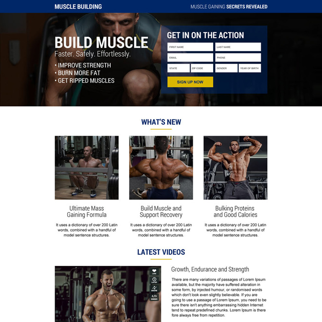 muscle building secrets sign up lead capturing responsive landing page design Bodybuilding example