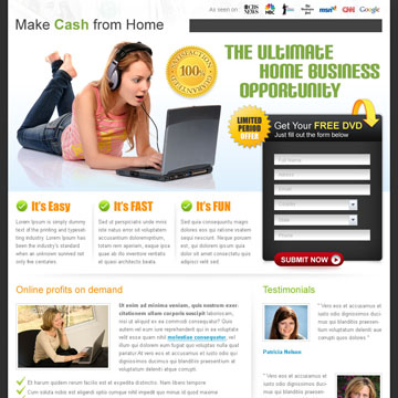 free work from home landing page design