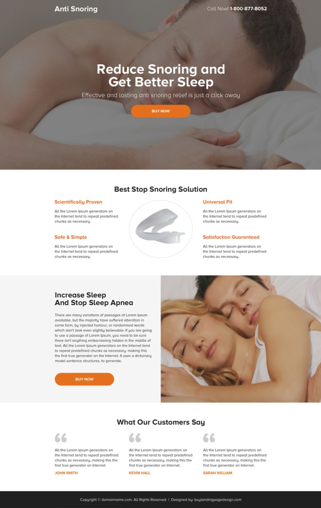 anti snoring solution mini landing page design