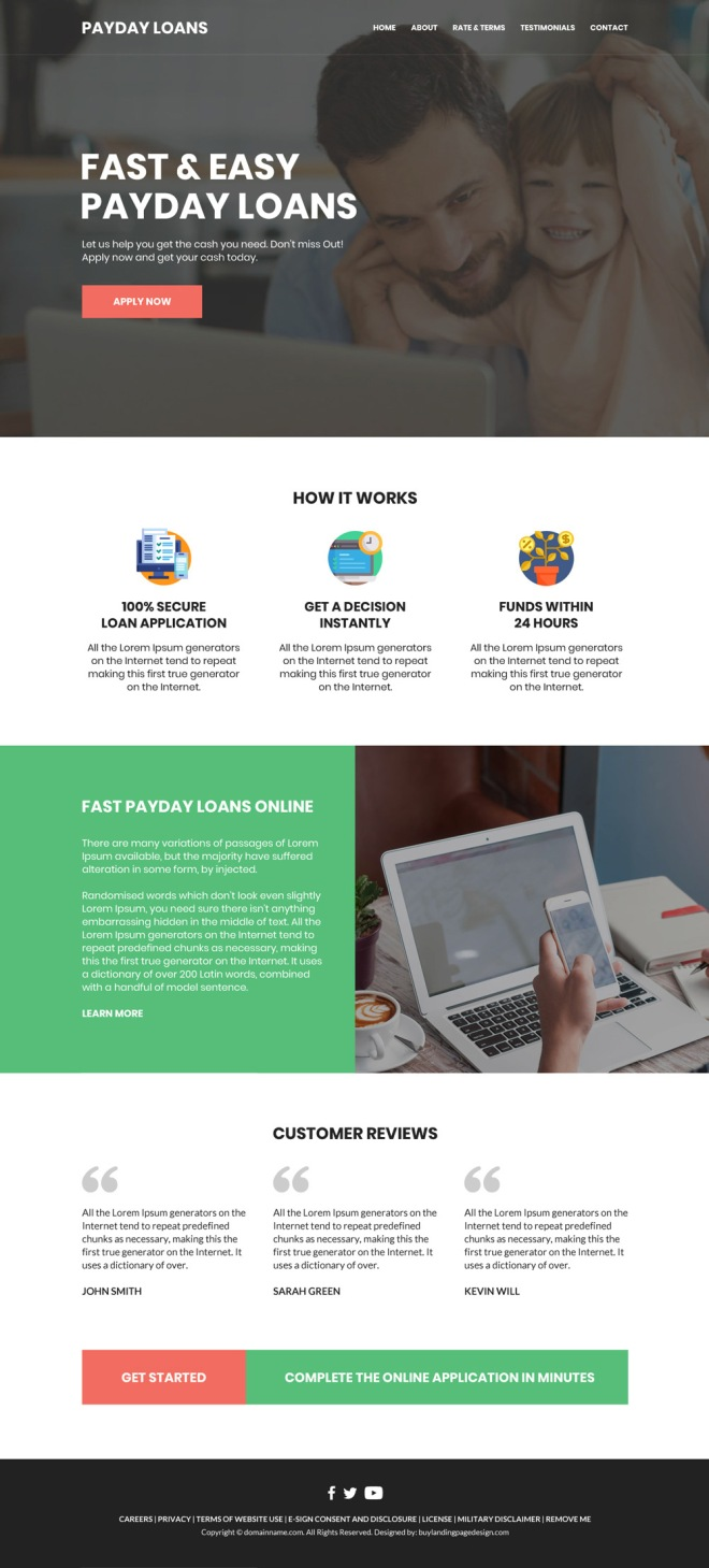 fast and easy payday loan responsive website design