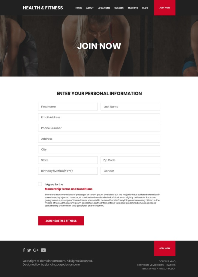 health and fitness training sign up capturing website design