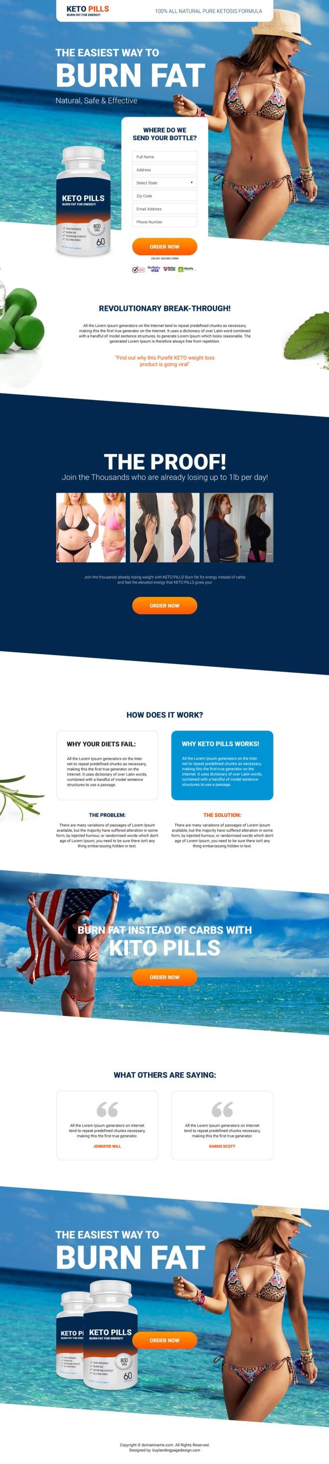 keto pills selling responsive landing page design